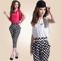 Women's summer 2014 piece set black and white polka dot 7 harem pants patchwork 8921 sleeveless jumpsuit