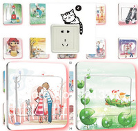 wholesale wall stickers switch stickers switch decoration film doodle more designs for choosing 24pc/lot F401