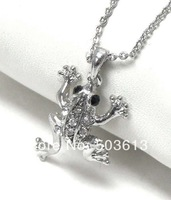 Wholesale Fashion 2.4CM Frog Animal Charm Necklace Costume Dull Silver/Gold Plated Pendant Necklace Free Shipping! xy014