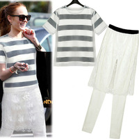 2014 bold stripe double layer organza lace short-sleeve T-shirt half-skirt casual legging set female