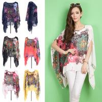 2014 flower printed blouse for women summer chiffon vintage big size top tunic woman shirt white,black,blue,red,yellow 4XXXL~5XL