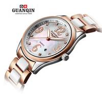 Original cz diamond digital Watch women Steel ceramic band Sapphire Waterproof Lady watches korean fashion rose gold wristwatch