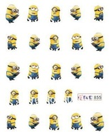 HOTSALE 20PCS/LOT Minions Cartoon WATER DECAL NAIL ART Accessories Cartoon Serie Nail Tattoo,11 Different design