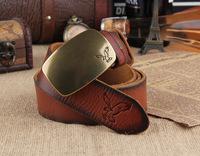 100% Genuine Leather Famous AE Brand Eagle Logo Gold Metal Plate Belts For Men Wide Belt Male Cinto Strap Ceinture MBT0174