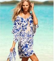 Female blue and white porcelain ice silk beach sea print dress restoring ancient ways