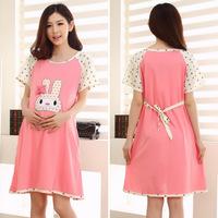 maternity dress pentagram rabbit sleeved nightgown summer Korean fashion clothes of maternity nursing clothes