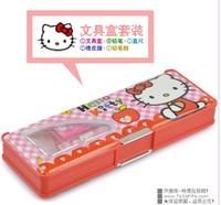 5 sets/lot Hello KItty Plastic Stationery Pencil Case Set Pencil Box Free Shipping