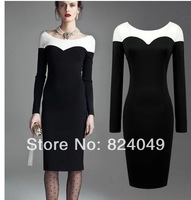 Free Shipping 2014 Women black Pinup Rockabilly Colorblock Bodycon Patchwork Stretch Shift Wiggle Pencil Dress