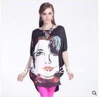 Hot Woman T-shirts 2014 Brand 2014 Summer Loose Print Chiffon Shirts Lace T Shirt Batwing Sleeves C-CS398
