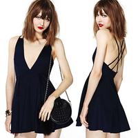 2014 new sexy Fashion sexy richcoco racerback V-neck spaghetti strap cross the back high waist chiffon one-piece dress d316
