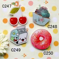 (MIN MIX ORDER IS $10) Hotsale popular acrylic Milk cartons donuts brooch harajuku bage DIY phone shell