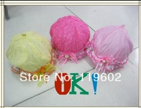 2014 New Fashion Lovely Baby Lace Silk Bowknot Summer Unisex Kids Infant Princess Sun Hats Caps Pink/White 2-12 months