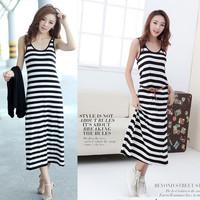 Modal full dress stripe solid color double u design basic long tank dress spaghetti strap female one-piece dress