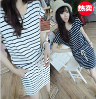 Mushroom women's 2014 small fresh ocean wind stripe drawstring one-piece dress young girl preppy style