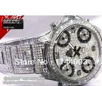 100% Original New silver full iced bling bling watch diamond