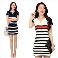 2014 summer short-sleeve stripe slim V-neck 100% cotton slim hip one-piece dress