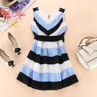 Blue black stripe tank dress sleeveless one-piece dress women's end of a single