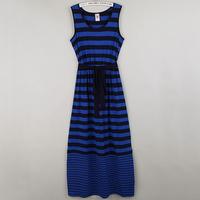 Women's summer stripe mid waist slim one-piece dress full dress tank dress plus size plus size 6k43q