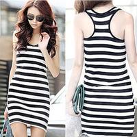 Stripe black and white spaghetti strap tank dress summer basic vest tank female spaghetti strap