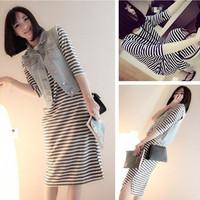 Summer classic brief all-match placketing stripe full dress half sleeve one-piece dress