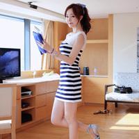 2014 summer chiffon stripe patchwork tank dress one-piece dress