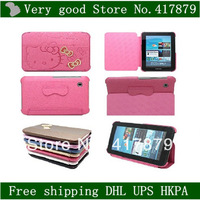 Hello Kitty PU Leather Flip Back Cover Case For Samsung Galaxy Tab 2 7.0 P3100 P3113 7'' Free Shipping DHL