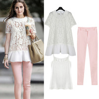 Fashion women's 2014 fashion piece set lace short-sleeve slim casual set