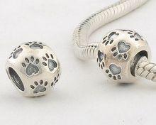 FJ122 925 Sterling Silver Dog Footprint DIY Fashion Beads Compatible With Pandora Style Charm Beaded Bracelets