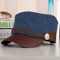 2014 Cotton Hat male women's strap button flat military hat soldier cap baseball cap  Free shipping