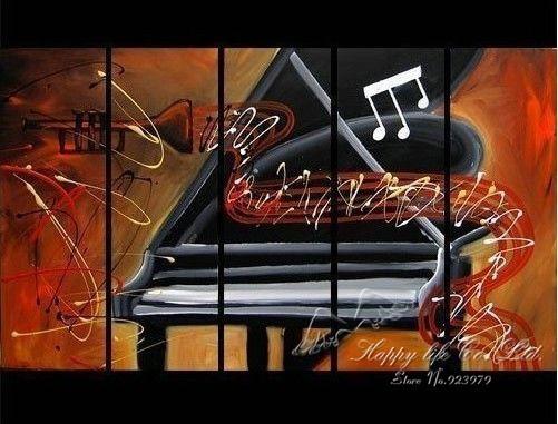 5 painéis de parede Modern Painting Art imagem pintura em óleo da lona pintura 100% feitos à mão de Piano trompete e fluindo notas(China (Mainland))