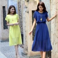 Spring New 2014 Plus Size Women Fashion Women's Chiffon Summer Dress, Women Casual Dress624
