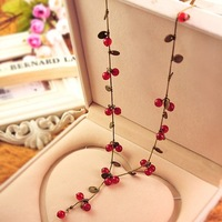 (min order 10$) 1480 accessories sweet red cherry long necklace wholesale