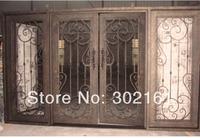 Security doors with wrought iron material ,ETN 1010 entry doors with sliding door hardware ,Double glass door with sidelight