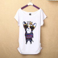 36 Style 2014 Great Quality Summer Female Tops New Arrival Women Short Sleeve T Shirts Casual Cotton Dog Owl Cat Print T-Shirts