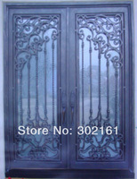 Fram house with wrought iron doors entrance doors ETN 1012 , 11 types color choices and glass