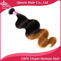 "Queen Hair Products VIRGIN 2 tone Ombre Hair Extensions1B#/27# mixed length 1pc Virigin Brazilian Hair 16""-22"" DHL Shipping"