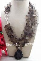 Beautiful! Smoky Quartz&Agate Pendant Necklace
