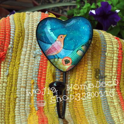 Fashion heart crystal wrought iron decoration hook classical adhesive hook(China (Mainland))