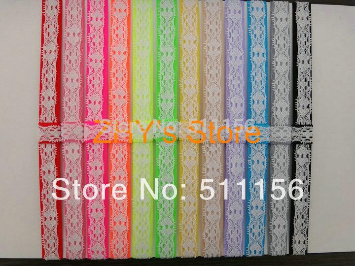 NEW 100pcs/lot Free Shipping Lace Fold Over Elastic FOE Headband Bracelet Wristbands Girl Ponytail Holder Hair Accessories(China (Mainland))
