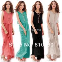 Women Ladies Boho Maxi Dress Chiffon Sleeveless Girl Dresses Pleated Long Sundress Casual Dress M L XL 1pcs/lot Free Shipping
