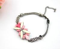 hot sale 2014 new design fashion elegant pink resin flower rhinestone chain bracelet for women party