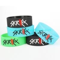 5 pcs/set, free shipping/ SKRILLEX / Silicone bracelet/1 inch Silicone wrist band/ BRACELET/ mix order welcome