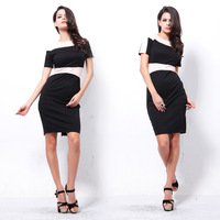 New 2014 Summer Vintage Women Slim Fit Patchwork Dresses Short Sleeve Pencil Dress Vestidos, Green, Blue, Pink, S, M, L, XL