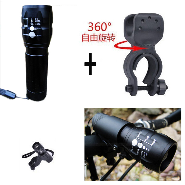 360 degree free rotate frame holder bracket bicycle front LED flashlight Torch Light 2000 Lumens Zoomable Spotlight For camp(China (Mainland))
