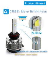 Free shipping, 20W H7/H8/H11/9006/9005 CREE LED car headlight, car fog light, 2400LM more brightness.
