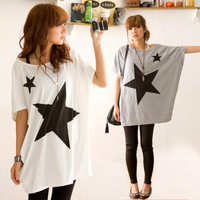 New 2014 Casual Women Lady Loose Long Star Print T Shirts Batwing Sleeve Shirt Tops, Gray, Pink, White, Size Free