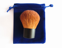 High Grade cosmetic kabuki brush-brown  with blue pouch