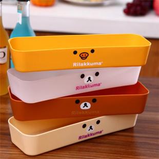 4pcs/lot Japanese style bear plastic storage box Desktop cosmetics sundries storage cases Free shipping(China (Mainland))