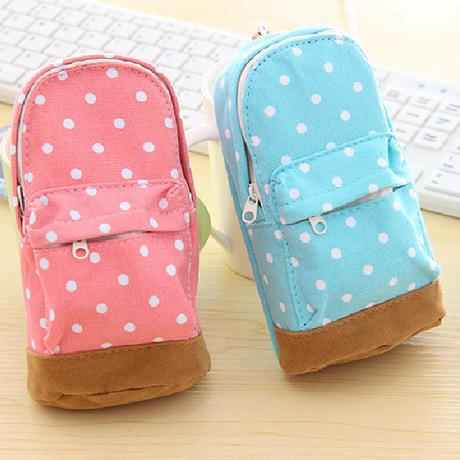 1pcs/lot Korea stationery Multifunctional big capacity pencil case Dot school bag pattern Cute storage box Free shipping(China (Mainland))