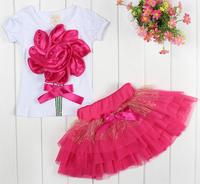 2014 summer girls clothing set cotton girls t-shirt+skirt set kids three-dimensional flower set C17